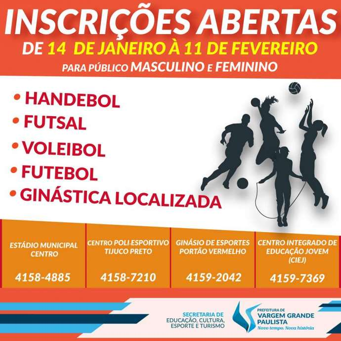 Vargem Grande oferece atividades esportivas gratuitas
