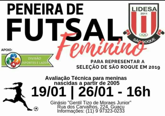 Peneiras para a Seleção de Futsal Feminina de São Roque serão realizadas no dias 19 e 26