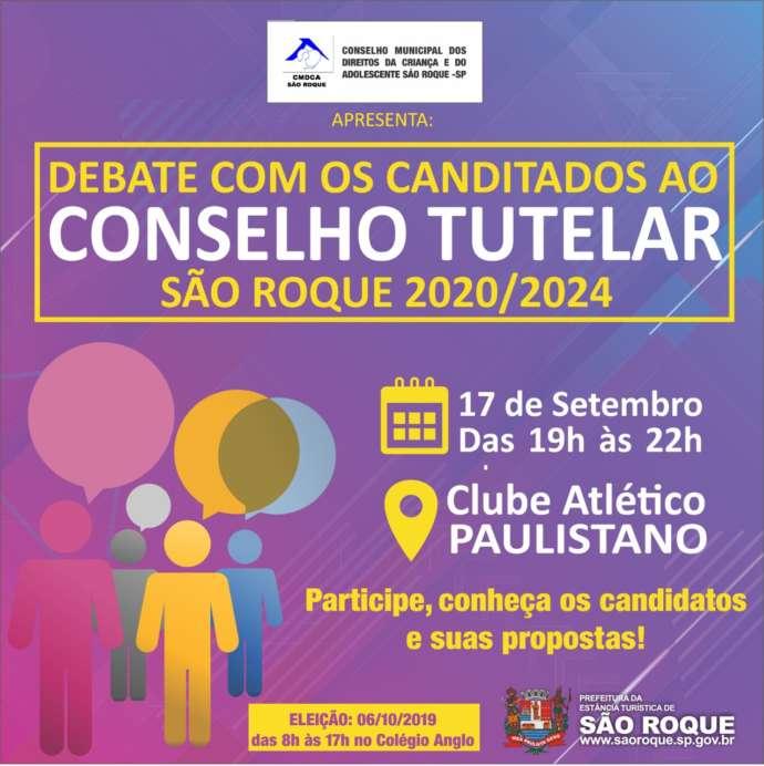 Debate com os candidatos ao Conselho Tutelar de São Roque acontece neste terça-feira