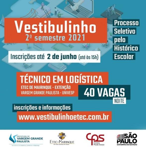 Vargem Grande Paulista tem 40 vagas para curso da Etec